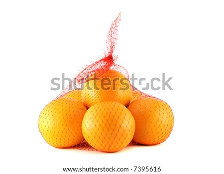 Oranges in the net bag - stock photo