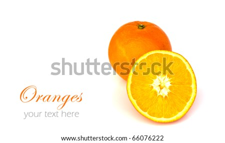 Oranges isolated on white background with copy space. - stock photo