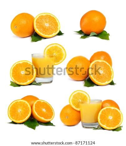Oranges, Juice and Leafs isolated on white background - set - stock photo
