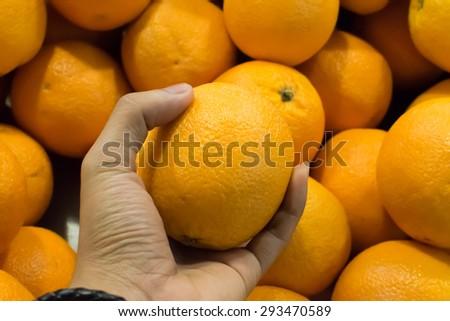 oranges on a market - stock photo