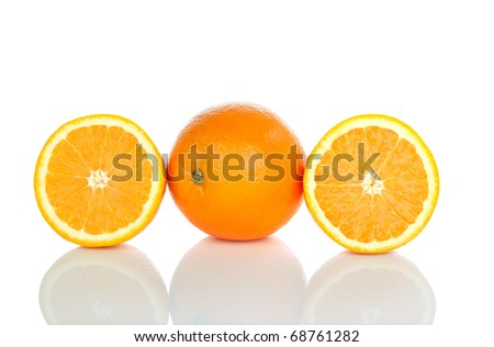 Oranges on a white background. - stock photo