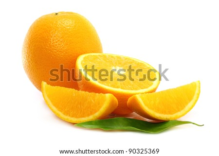 Oranges on white background - stock photo