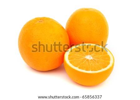 oranges slice pile isolated - stock photo