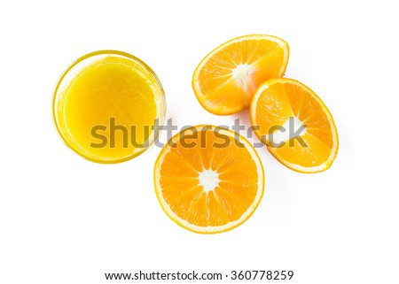 Oranges. Sliced. Orange juice isolated. Top view.