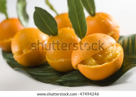 oranges with ice cream - stock photo