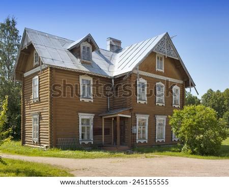 Oranienbaum (Lomonosov). Upper park. Ancient inhabited wooden house.  - stock photo