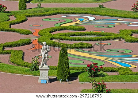 ORANIENBAUM, SAINT-PETERSBURG, RUSSIA - JULY 3, 2015: Summer Statue. Lower Garden in Oranienbaum Palace and Park Ensemble. It is the State Museum-Preserve and located near Saint-Petersburg - stock photo