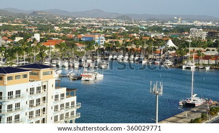 ORANJESTAD, ARUBA - NOV 26: View of Aruba, as seen on Nov 26, 2015. About three quarters of the Aruban gross national product is earned through tourism or related activities. - stock photo