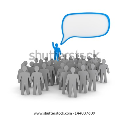 Orator on tribune - speaks in front of people - stock photo