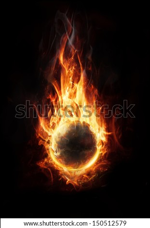 orb of fire on dark background
