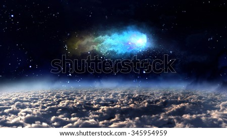 orbit meteor air bursts in the space. - Elements of this Image Furnished by NASA