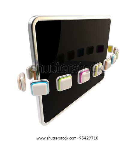 Orbit of application icons around the flat black computer pad screen isolated on white - stock photo
