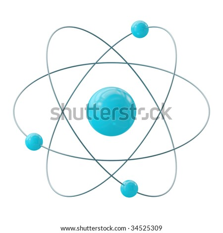 Orbital model of atom isolated on white