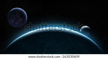 Orbital view on an extraterrestrial Earth-like planet with atmosphere and a moon-like planet rising behind it - stock photo