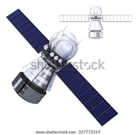 Orbiting satellite. Isolate on white - stock photo