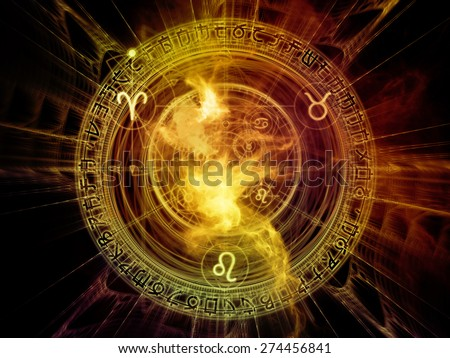 Orbits of Destiny series. Abstract arrangement of sacred symbols, signs, geometry and designs suitable as background for projects on astrology, alchemy, magic, witchcraft and fortune telling