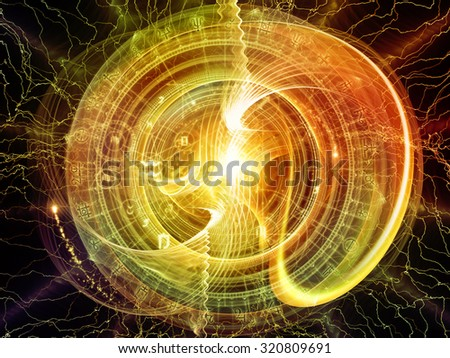 Orbits of Destiny series. Abstract arrangement of sacred symbols, signs, geometry and designs suitable as background for projects on astrology, alchemy, magic, witchcraft and fortune telling - stock photo