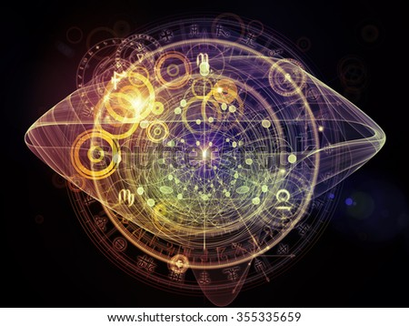 Orbits of Destiny series. Arrangement of sacred symbols, signs, geometry and designs on the subject of astrology, alchemy, magic, witchcraft and fortune telling - stock photo