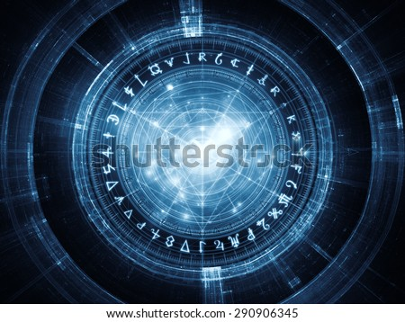 Orbits of Destiny series. Artistic background made of sacred symbols, signs, geometry and designs for use with projects on astrology, alchemy, magic, witchcraft and fortune telling - stock photo