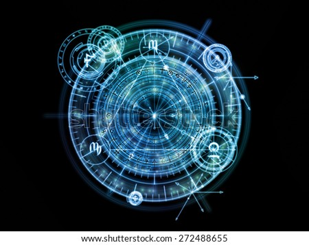 Orbits of Destiny series. Backdrop of  sacred symbols, signs, geometry and designs to complement your design on the subject of astrology, alchemy, magic, witchcraft and fortune telling - stock photo