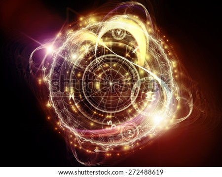 Orbits of Destiny series. Creative arrangement of sacred symbols, signs, geometry and designs to act as complimentary graphic for subject of astrology, alchemy, magic, witchcraft and fortune telling - stock photo