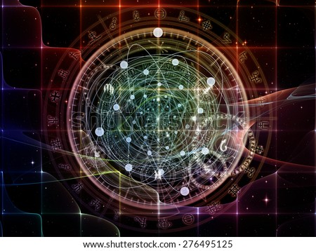 Orbits of Destiny series. Visually pleasing composition of sacred symbols, signs, geometry and designs to serve as  background in works on astrology, alchemy, magic, witchcraft and fortune telling