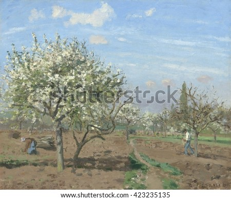 Orchard in Bloom, Louveciennes, by Camille Pissarro, 1872, French impressionist painting, oil on canvas. This work was painted after Pissarro returned to his home after the Franco-Prussian War