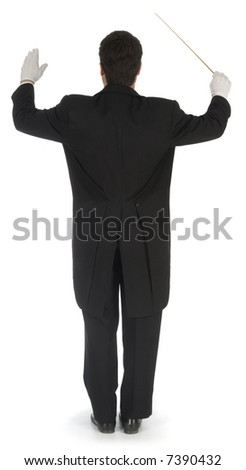 Orchestra conductor facing away from the camera against a white background - stock photo