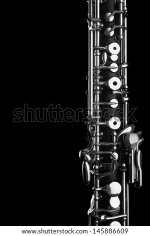 Orchestra musical instrument oboe. Woodwind classical music close up on black - stock photo