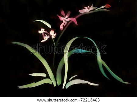 Orchid blooming at night painted in   Japanese style