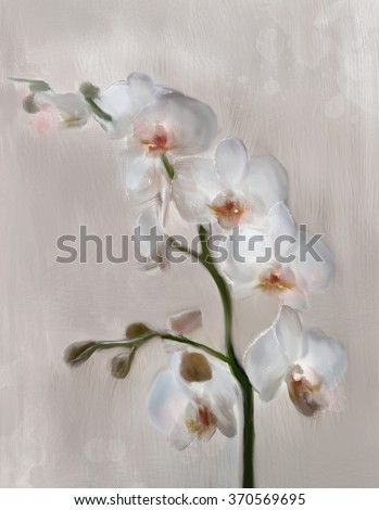 Orchid branch - Oil painting - stock photo