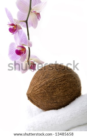 Orchid, coco nut and towels in spa - stock photo