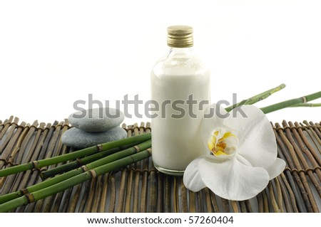 orchid flower and spa item - stock photo