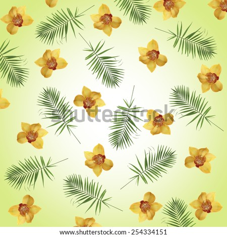 Orchid flowers and palm leaves as wallpaper - stock photo