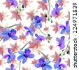 orchid flowers. watercolor pattern - stock photo
