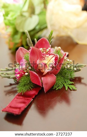 orchid hand corsage - stock photo
