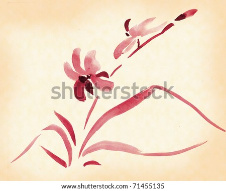 Orchid painted in traditional Japanese style, ink - stock photo