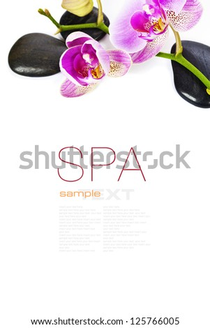 Orchid Spa Composition- Spa and healthcare concept (with easy removable sample text) - stock photo