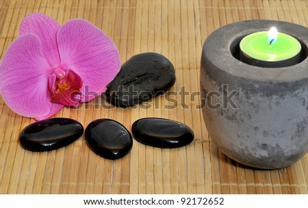 orchid stones and tea light