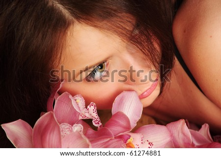 orchid woman - stock photo
