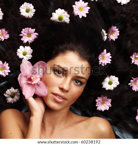 orchid woman flower in hairs