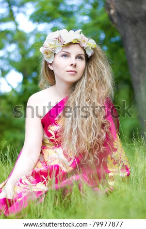 Orchid wreath - stock photo