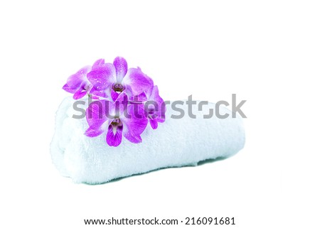 orcids  and towel  for spa - stock photo