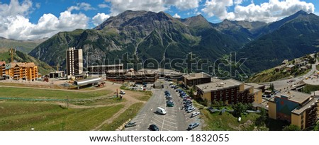 Orcieres Merlette resort (Alpes-France). The national park of Ecrin (100000 ha.) is home to chamois, ibex, marmots… - stock photo