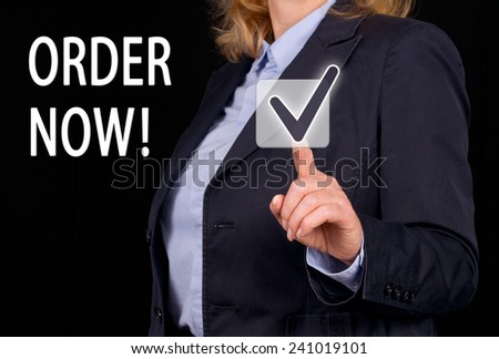 Order Now ! Businesswoman with touchscreen - stock photo