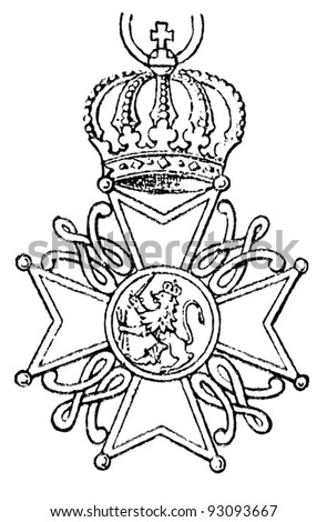 "Order of the Netherlands Lion (Netherlands, 1818). Publication of the book ""Meyers Konversations-Lexikon"", Volume 7, Leipzig, Germany, 1910 - stock photo"