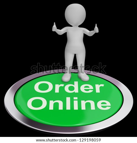 Order Online Button For Purchasing On The Web - stock photo