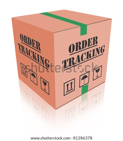 order tracking online shipment evaluation cardboard box shipping - stock photo