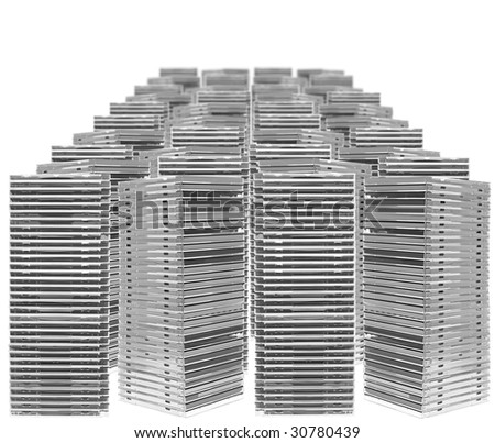 Ordered piles of cases isolated on white background - stock photo