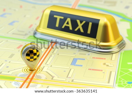 Ordering a taxi cab online internet service, transportation concept, navigation pin pointer with checker pattern and yellow taxi sign on city map - stock photo